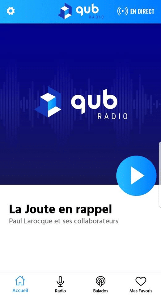 Accueil de l'application Qub